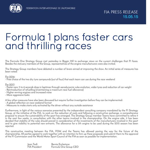F1 press release
