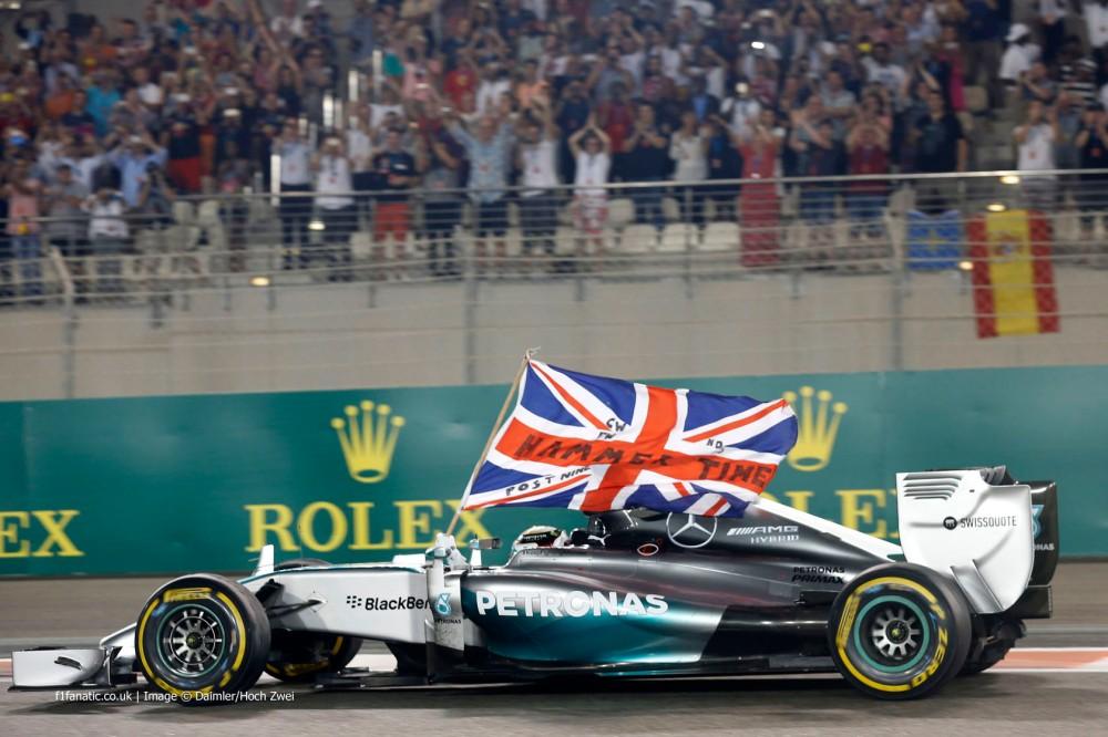 Hamilton celebration world champion F1 Abu Dhabi 2014 win